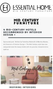 Essential Home - 4 Mid Century Hotels Recommended By Interior Design +